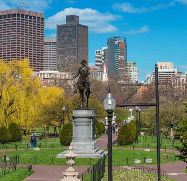 Bronze statue of George Washington on horseback in the Public Garden, Boston, MA