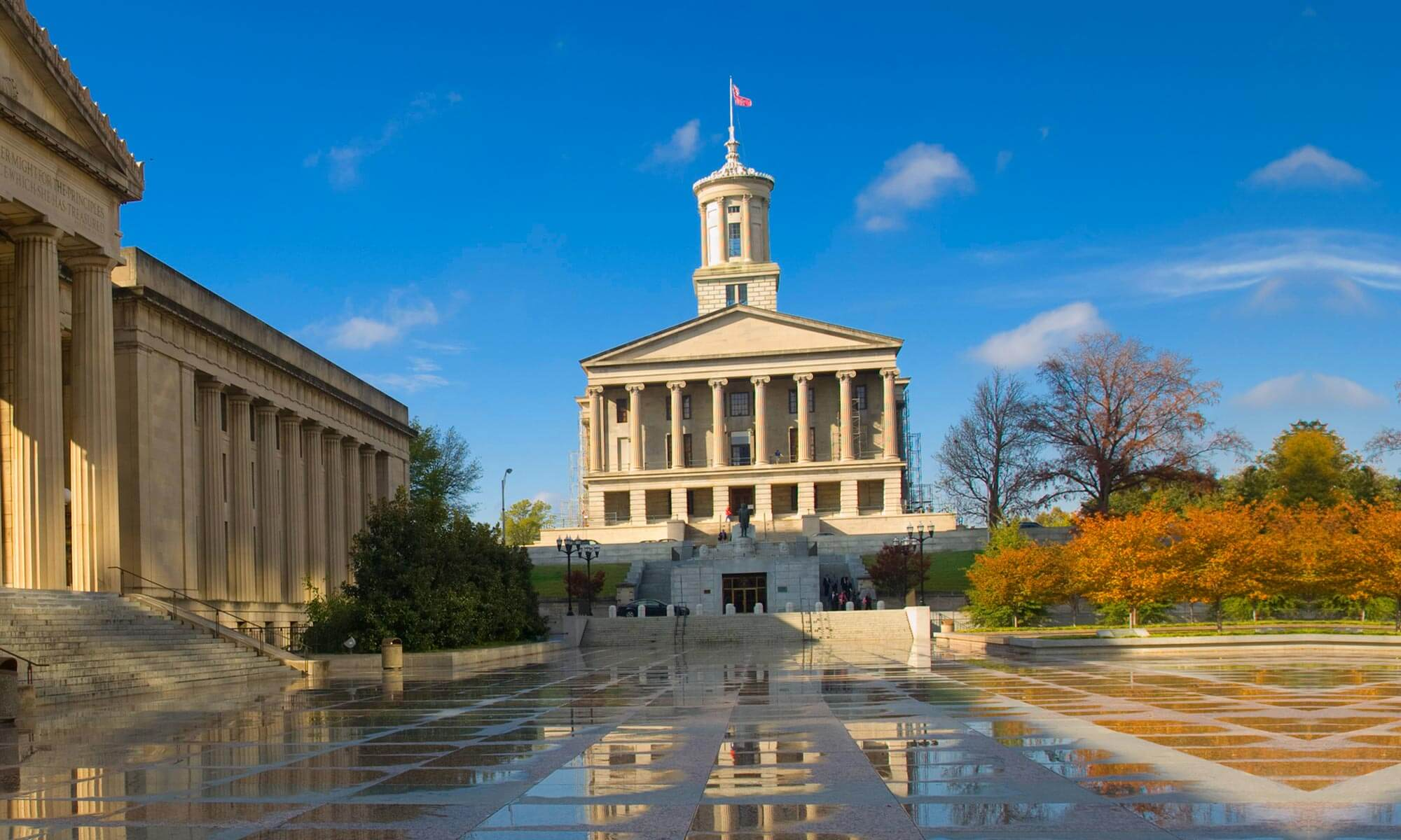 Exterior view of Tennessee State Capitol in Nashville, TN