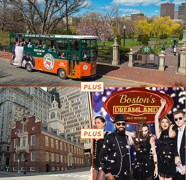 picture of boston trolley, old state house and dreamland wax museum figures