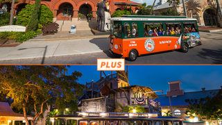 Top picture: Key West trolley driving past Customs House; bottom picture: Key West Ghosts & Gravestones Tour at night in front of the Key West Shipwreck Treasure Museum