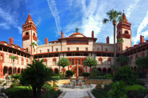 fountain & exterior of building at flagler college in st augustine