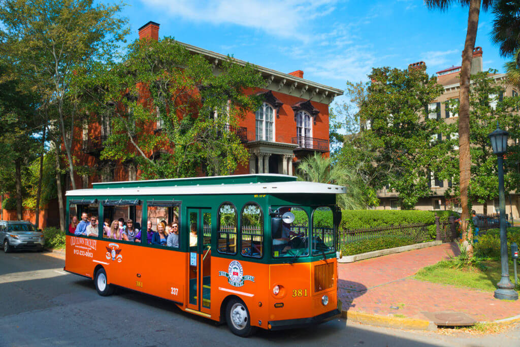 Old Town Trolley sightseeing throughout Savannah
