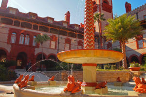 upward view of fountain at flagler college in st augustine