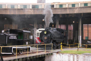 Old Town Trolley tour stop 1 at Roundhouse Railroad Museum