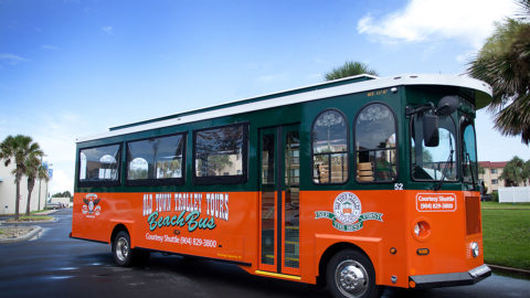side view of St. Augustine beach bus shuttle
