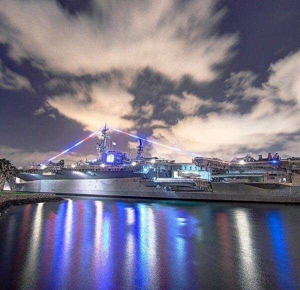 san diego navy ship at night