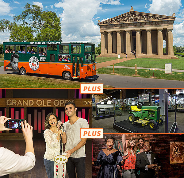 top picture: nashville trolley driving past centennial park parthenon; bottom right left picture: guests posing for a picture on stage at grand ole opry; bottom right picture 1: george jones museum display of memorabilia; bottom right picture 2: guests posing with two wax figures