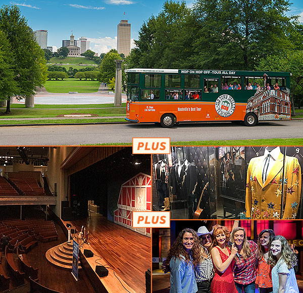 top picture: nashville trolley driving past Tennessee state house; bottom left picture: grand ole opry stage and theatre; bottom right picture 1: george jones museum display showing suits; bottom right picture 2: guests posing next to reba mcentire wax figure