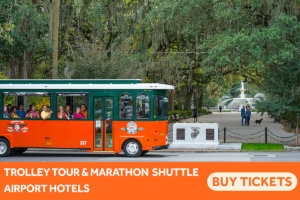 picture of trolley and forsyth park - trolley tour & marathon shuttle for airport hotels - buy tickets button