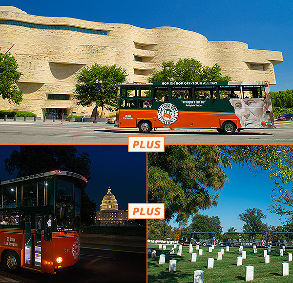 Trolley Tour Gold Pass & Monuments by Moonlight