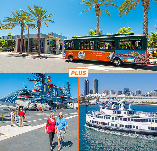 Top picture: San Diego trolley driving past Visitor Center; bottom left picture: Couple walking on USS Midway deck; bottom right picture: Harbor cruise sailing San Diego bay